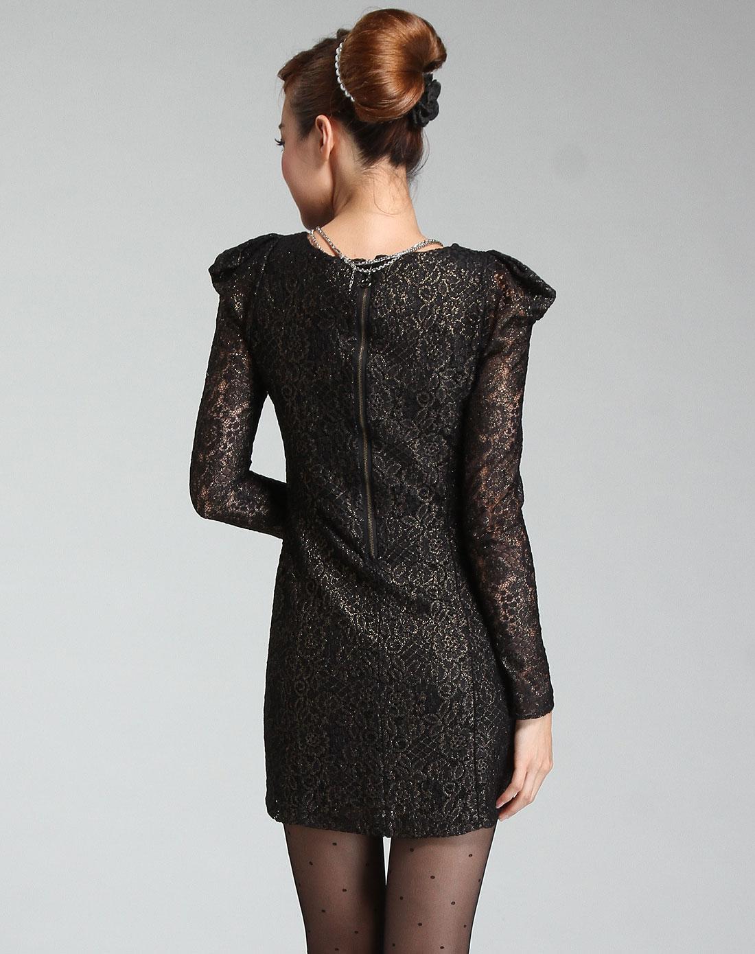 [ 朗姿 ] 黑拼金色花纹复古长袖针织连衣裙