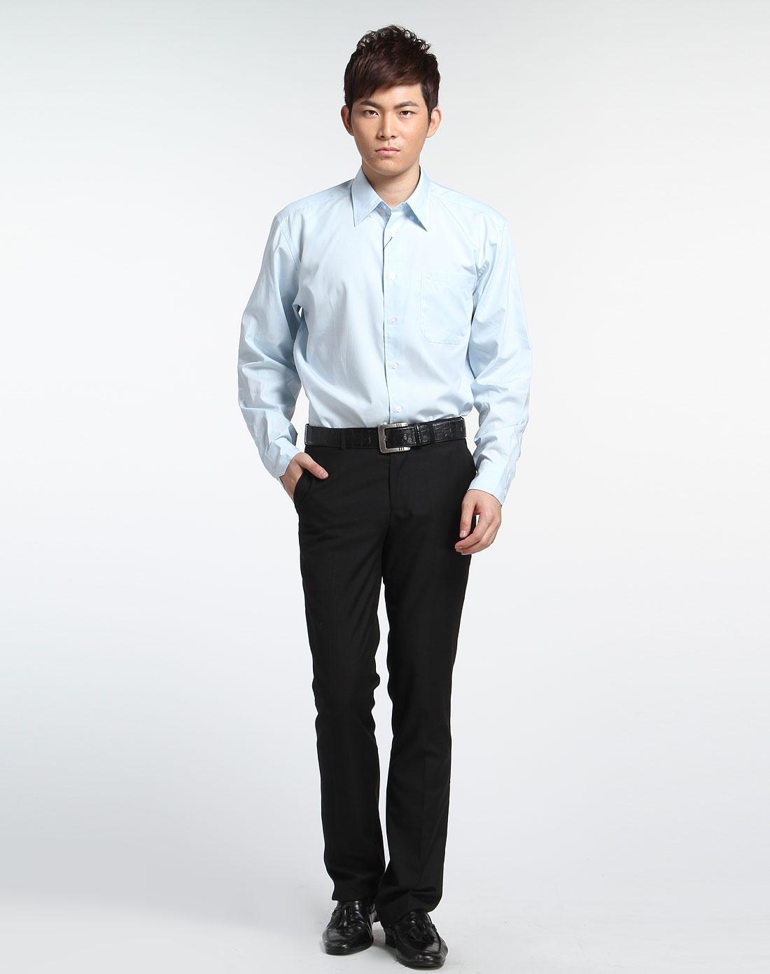 圣大保罗浅蓝色长袖衬衫ps7wh00125_唯品会
