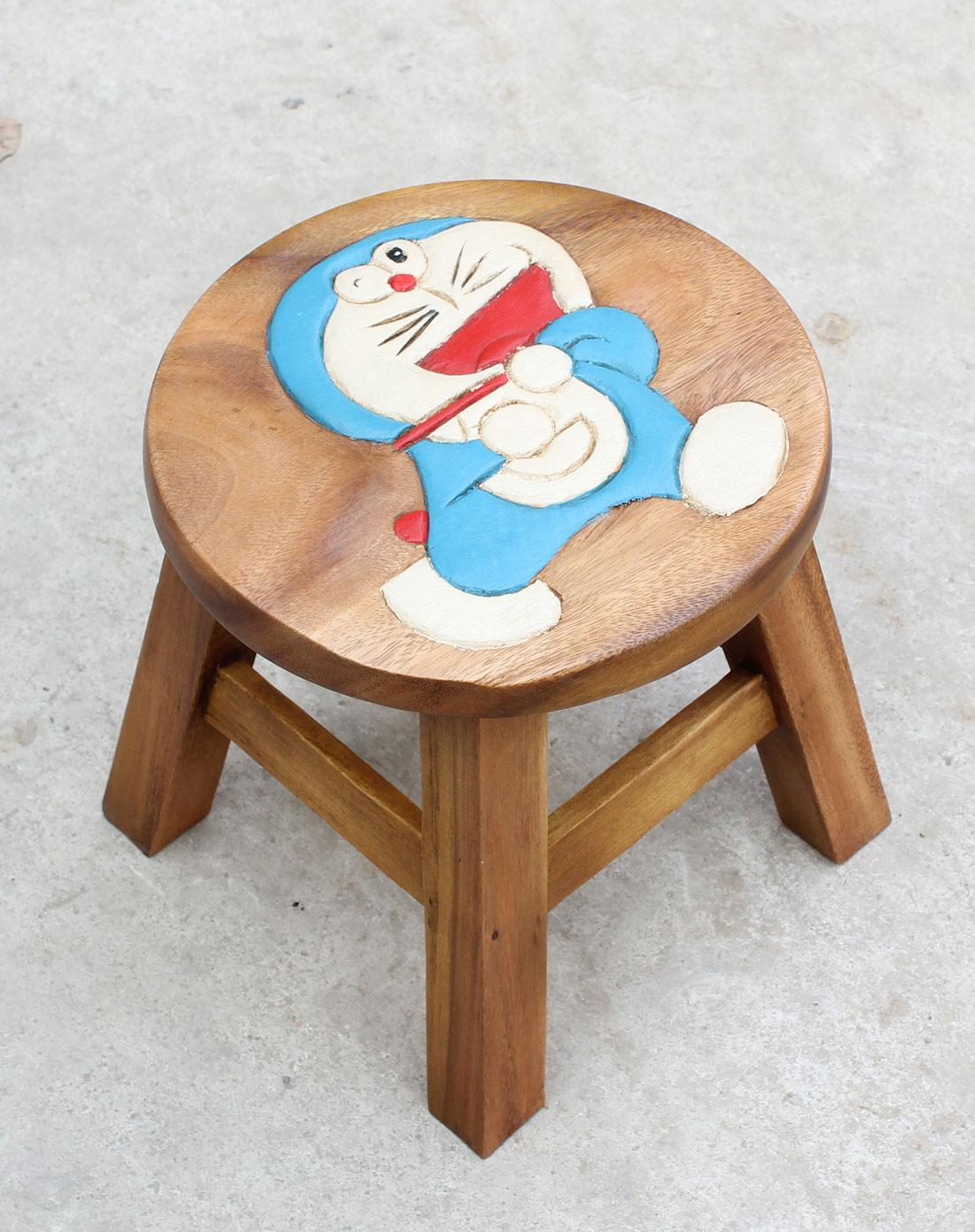 泰国柚手工制作家居木凳-机器猫(一对装)