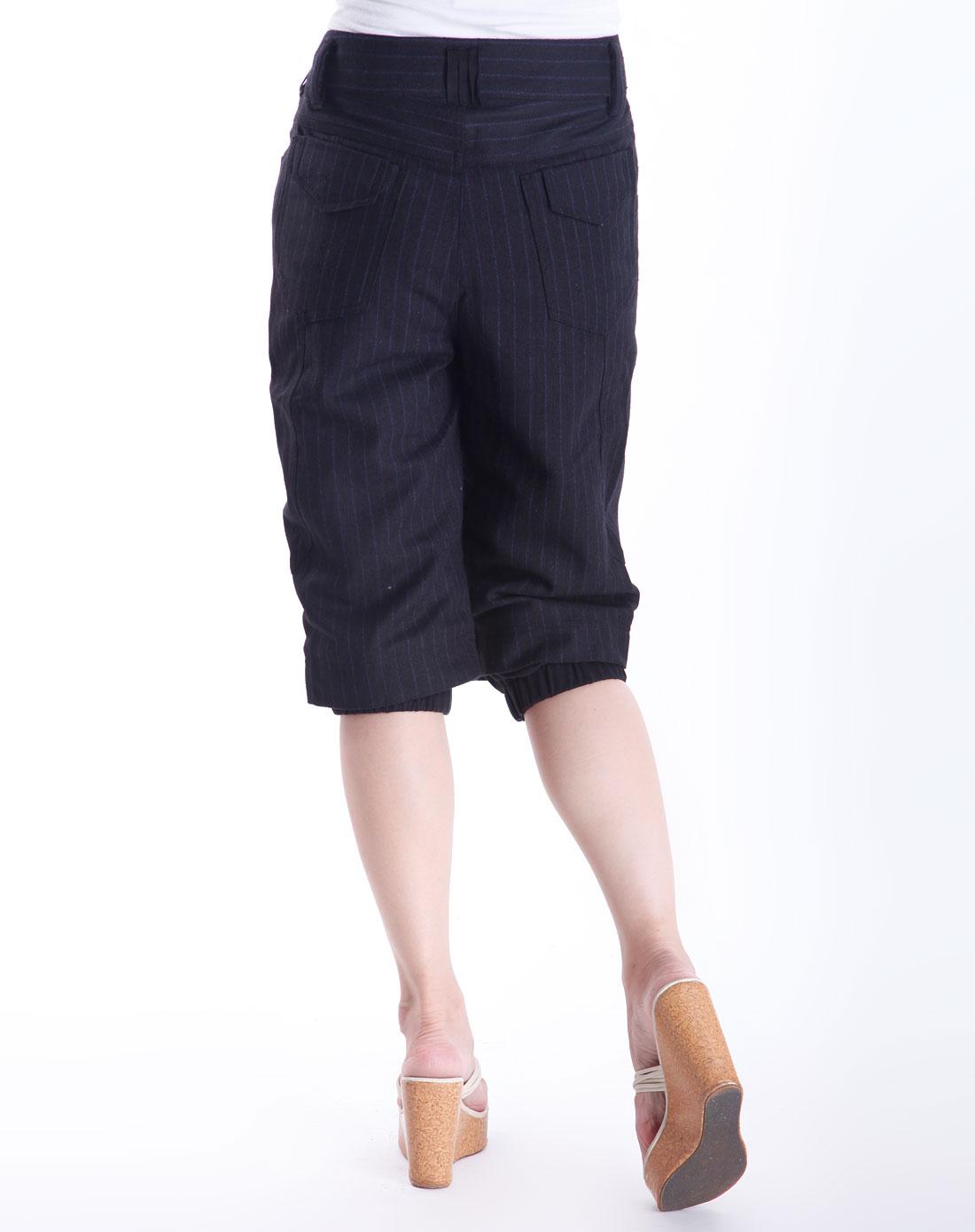 黑色条纹时尚七分裤_摩卡奴mocano官网特价3折