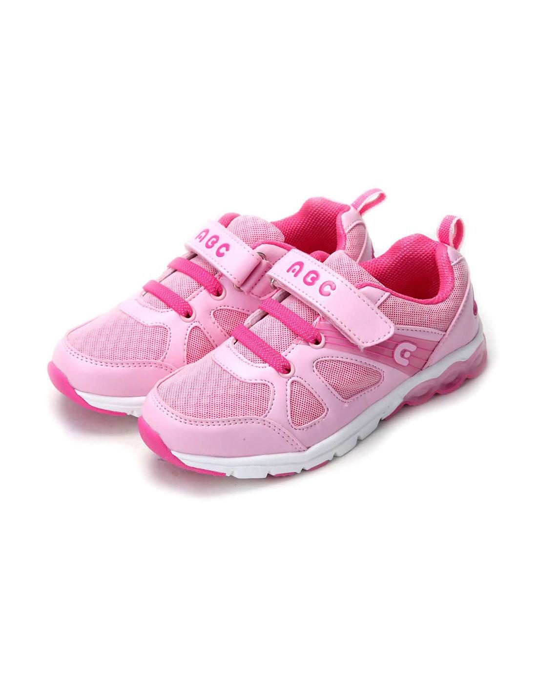abckids男女童鞋女中童粉红玫红跑步运动鞋y2313513d
