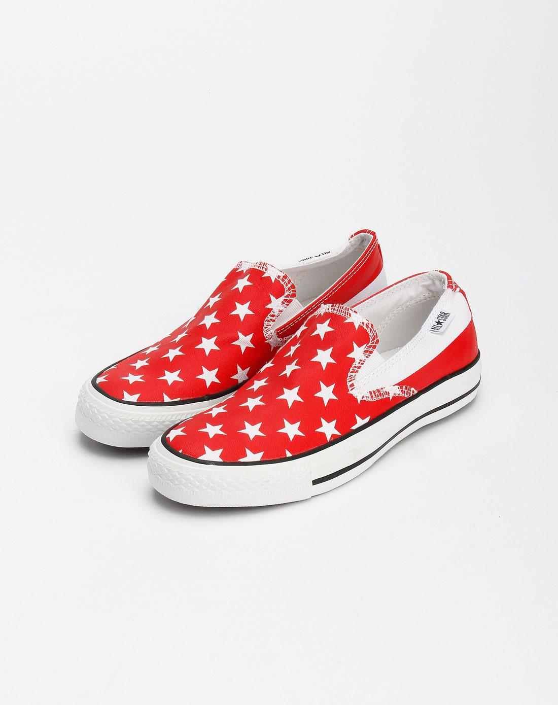 男款红/白色星印花帆布鞋