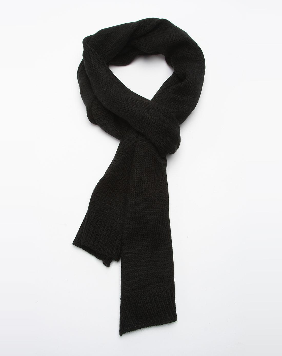 森马男装专场-黑色舒适围巾图片