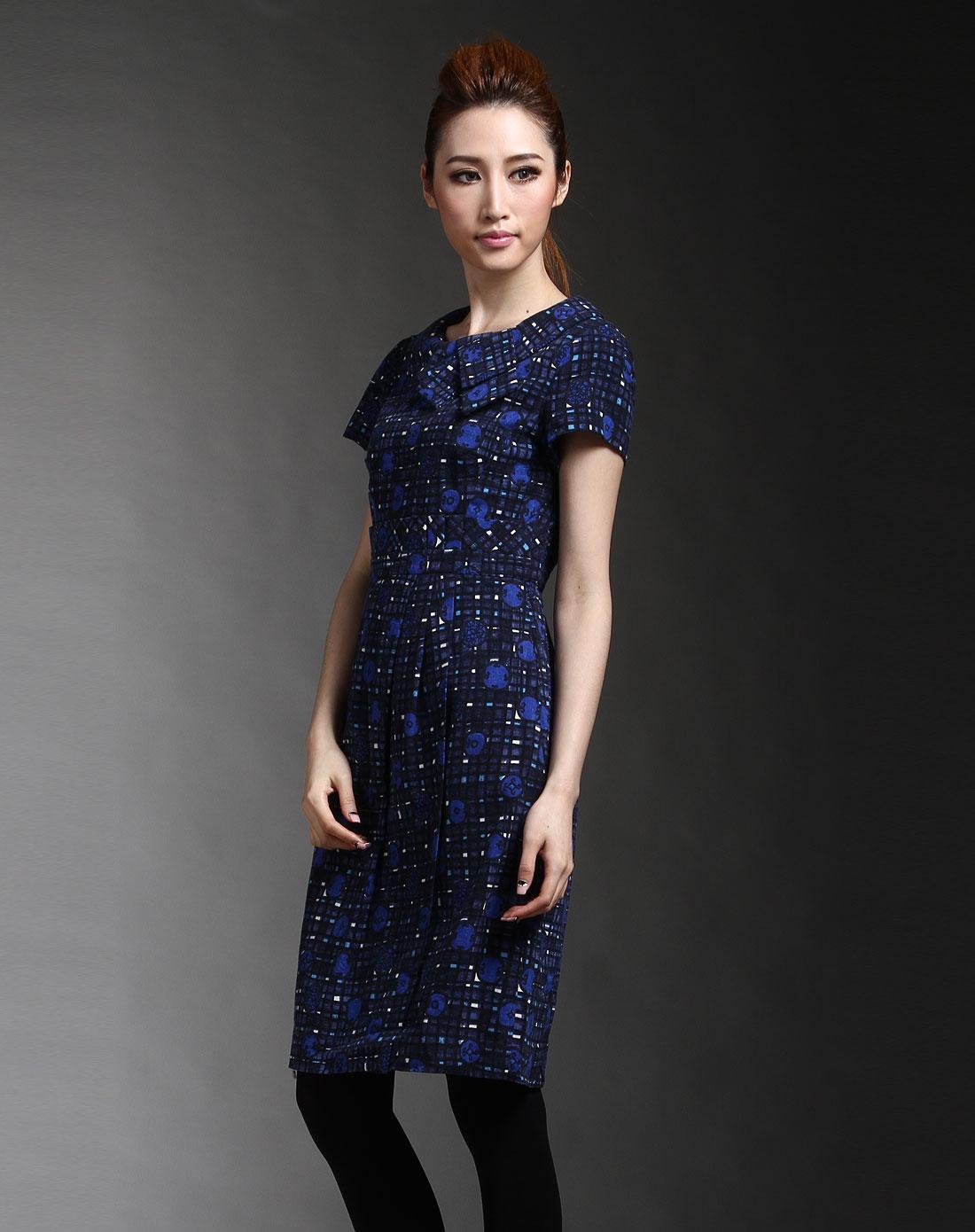 黑/蓝色格纹印图短袖连衣裙