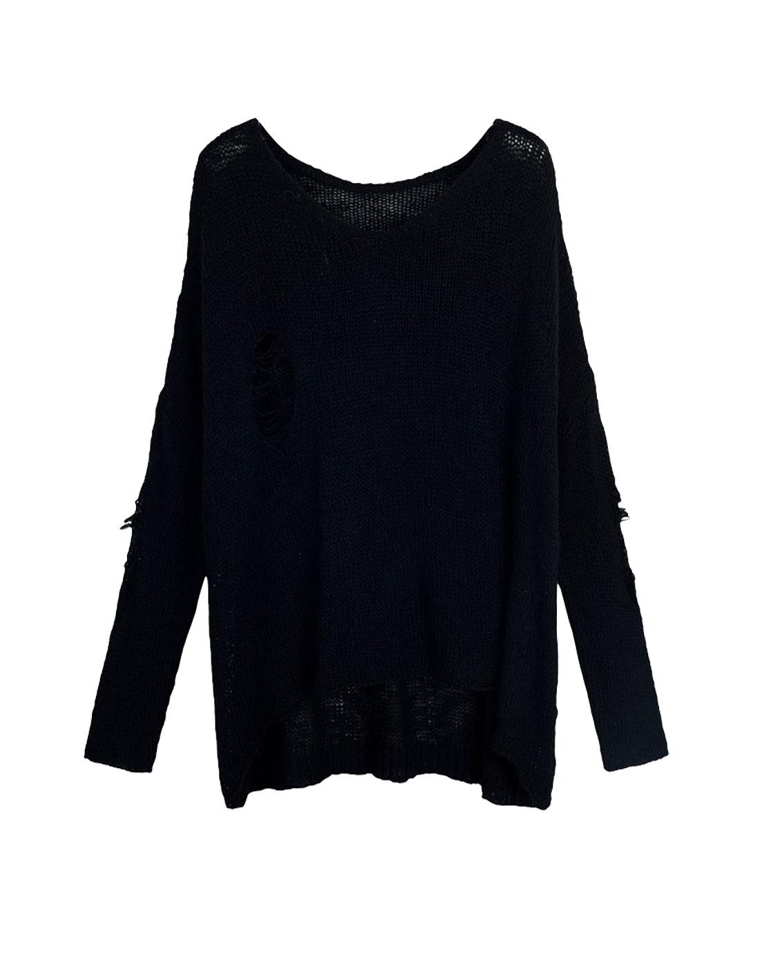 other mix 女款黑色破洞镂空针织长袖毛衣
