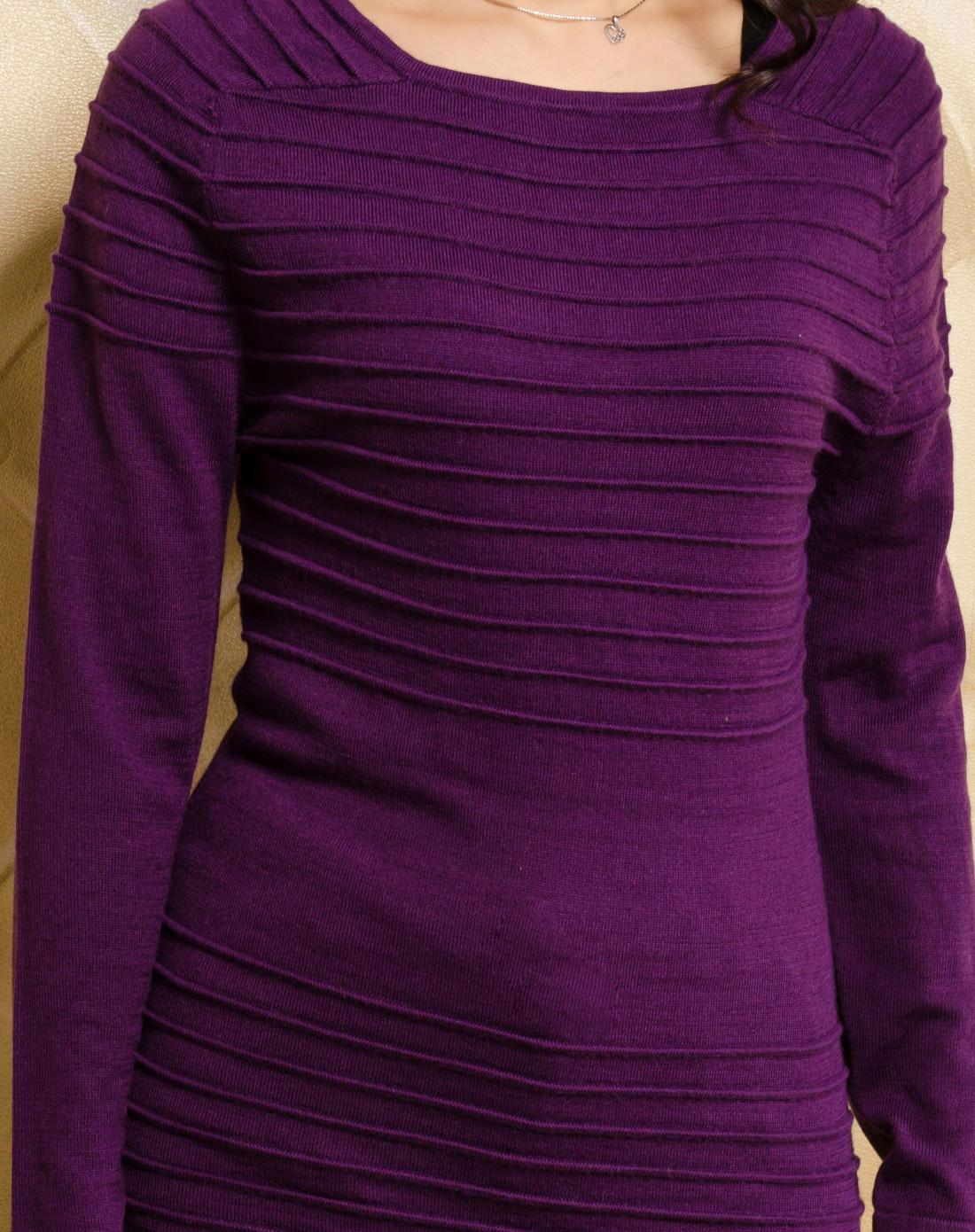 azino-紫色立体条纹连衣裙款毛衣2a5916