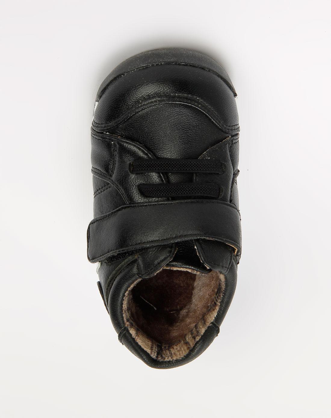卡丁童鞋男童黑色魔术贴皮鞋