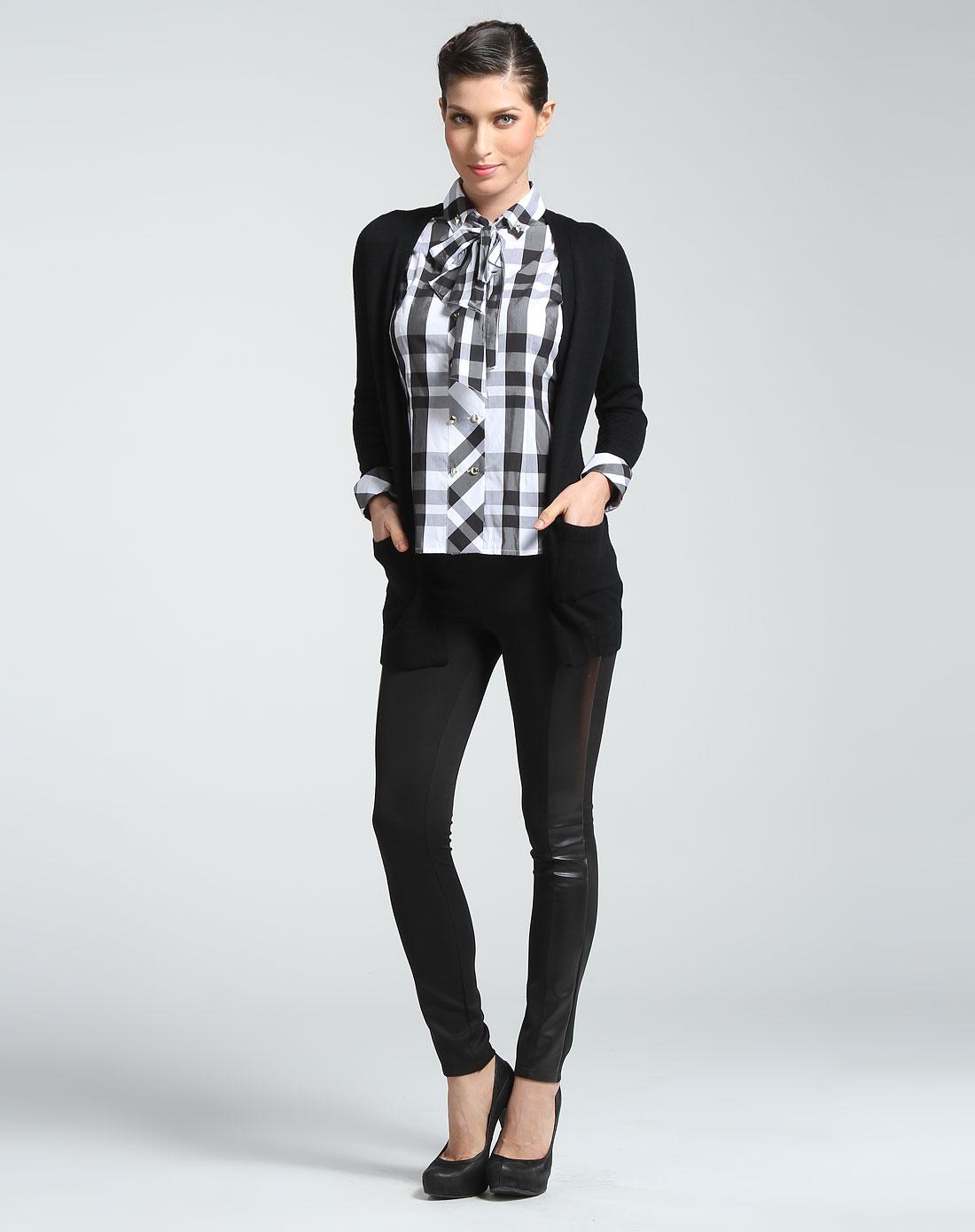 黑白色格子假两件长袖上衣
