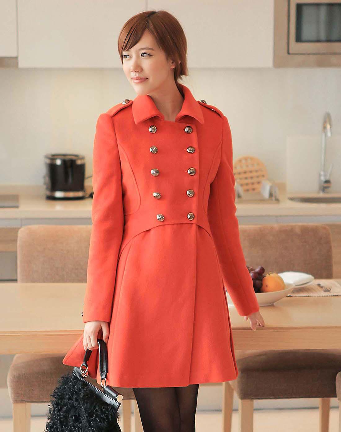 卓茜jascci女装橘红色大衣j41516ih
