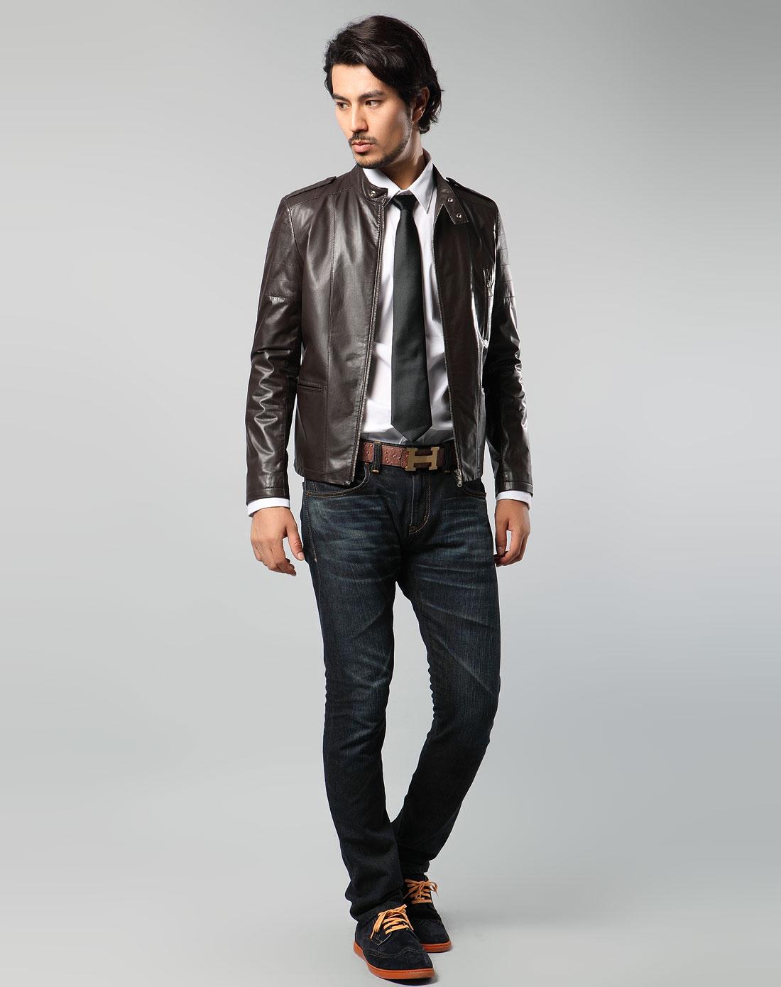 男款绅士风情长袖皮衣外套棕色