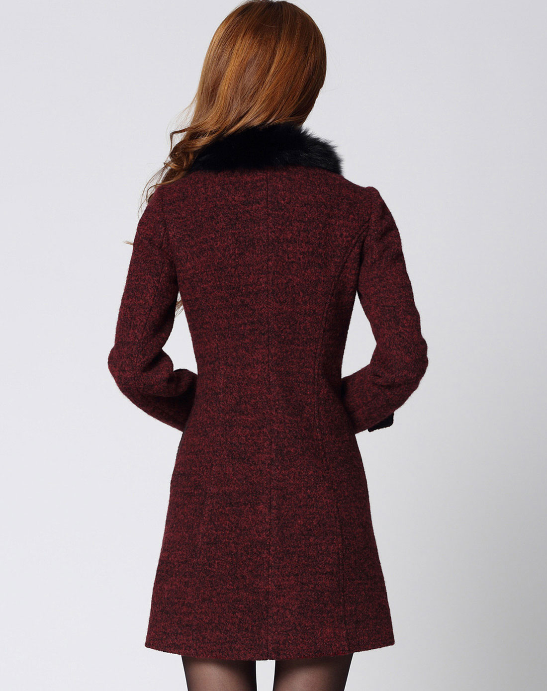 sa女款枣红色含羊毛大衣sd210184500a