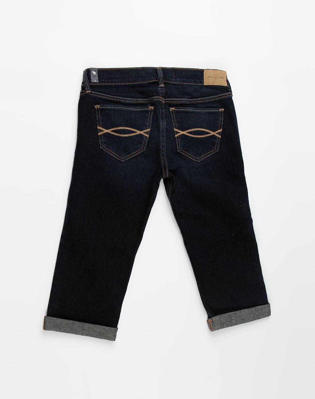 a&f-童装少女深蓝色牛仔中裤