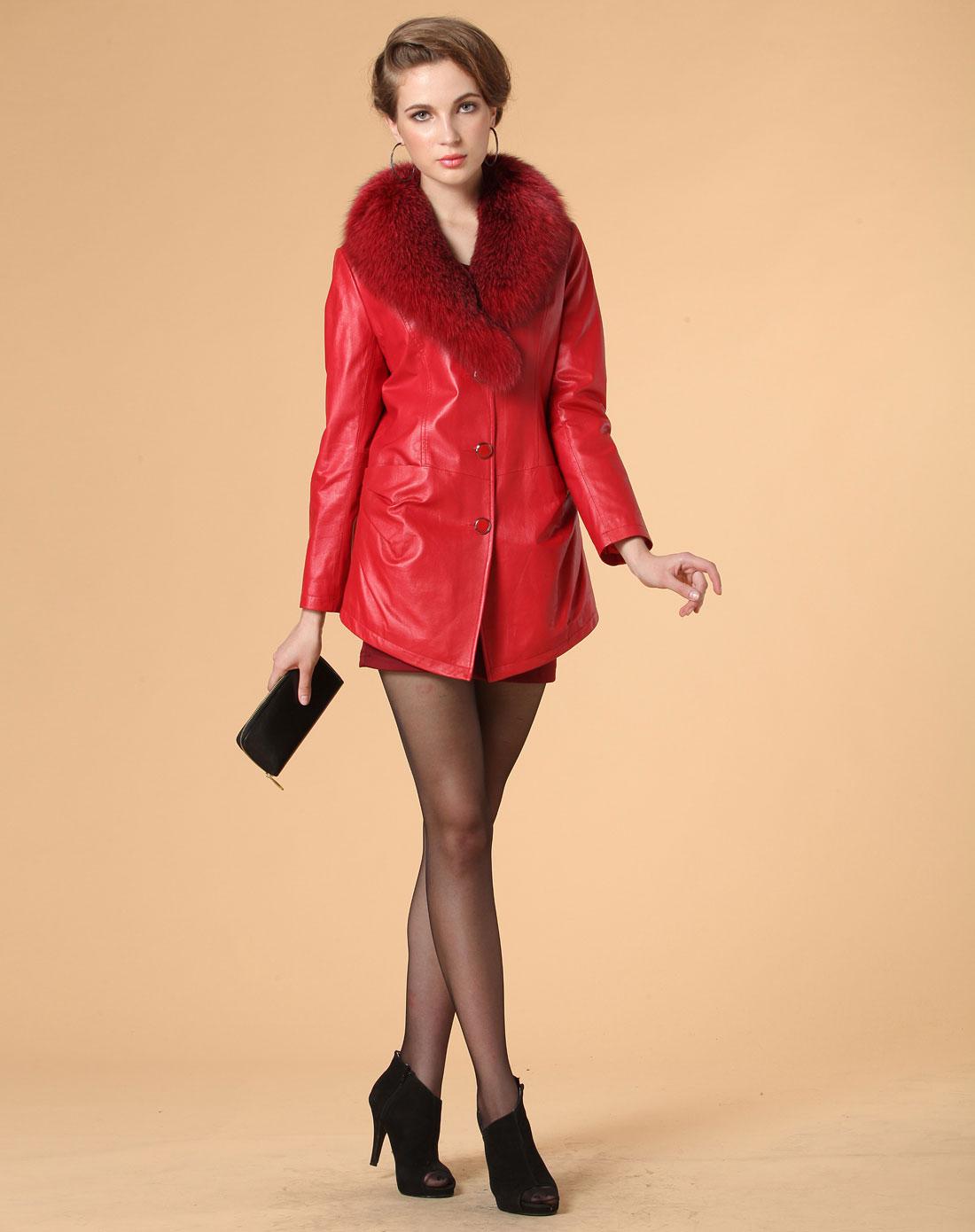 棉真皮皮衣红色