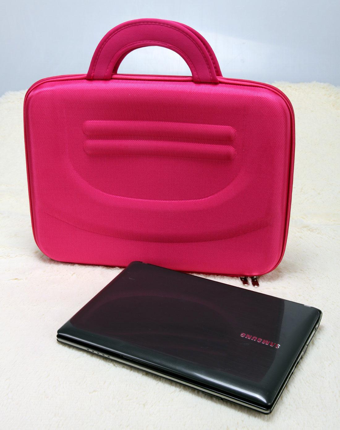 > 玫红色仿皮14寸笔记本电脑手提包