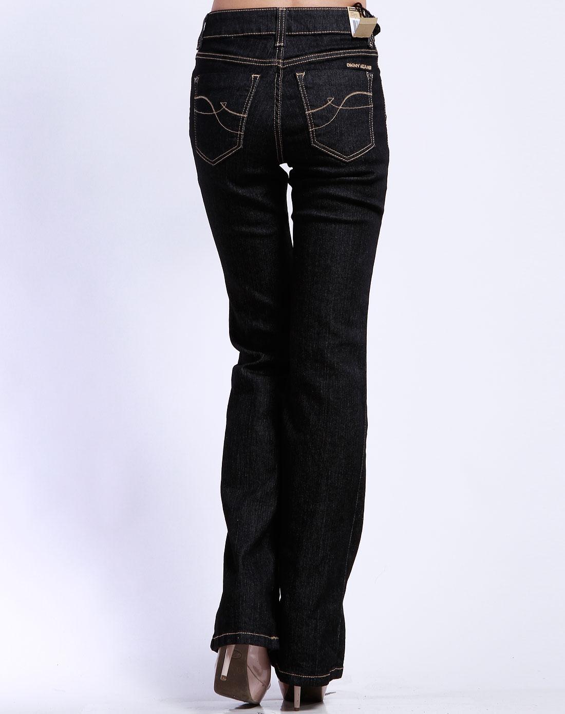女款黑色直筒休闲牛仔长裤