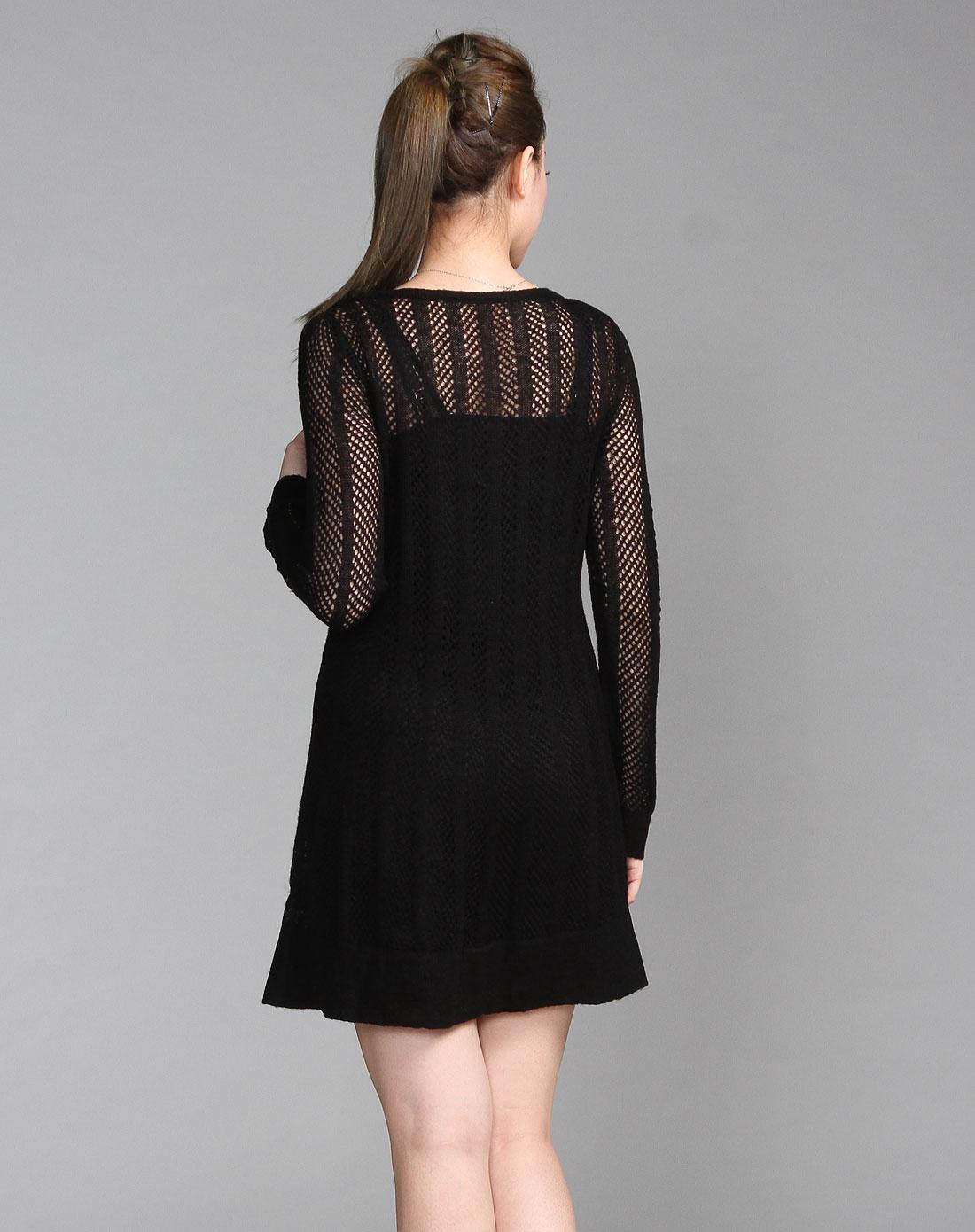 shine黑色镂空针织长袖连衣裙两件套sfg3lq
