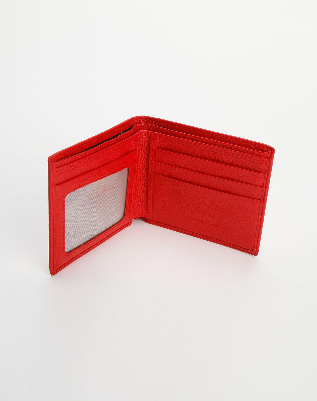 老人头女包红色细裂纹时尚钱包