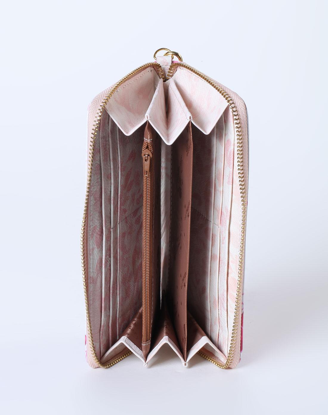 白/粉红色女孩印图拉链钱包