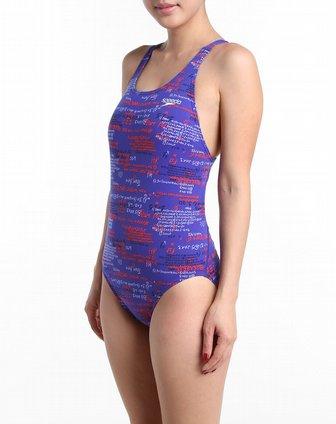 女款深彩蓝色印字母连体泳衣