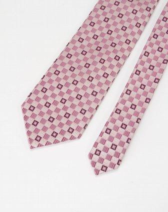 粉紫色格子印花图案领带