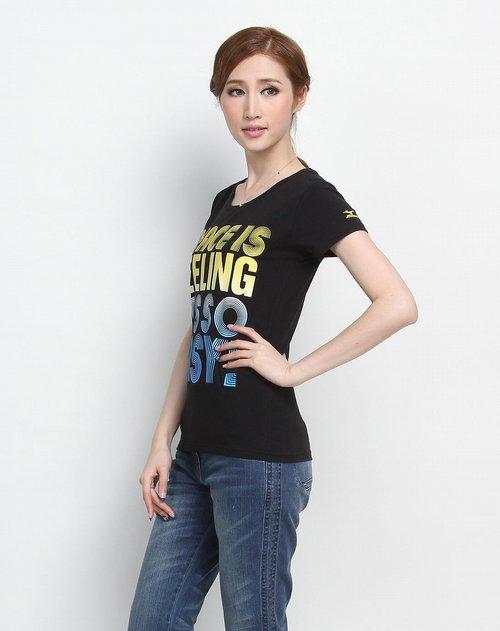女休闲�z(�:(�ybj�f_美津浓 女款黑色舒适休闲圆领短袖t恤
