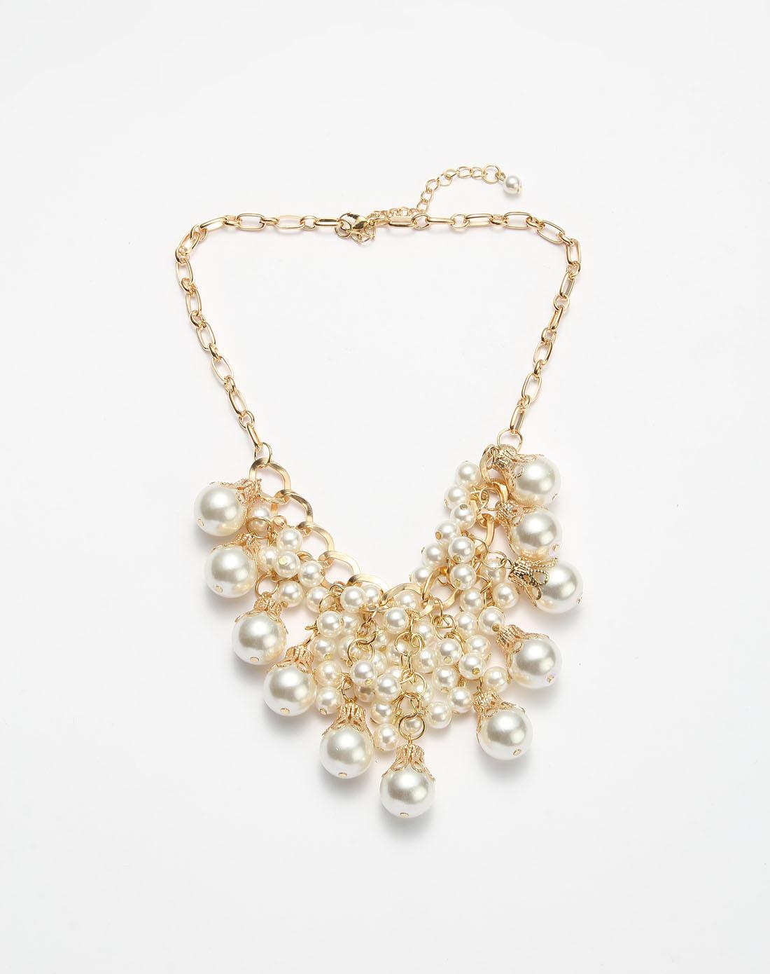 金色华丽仿珍珠项链
