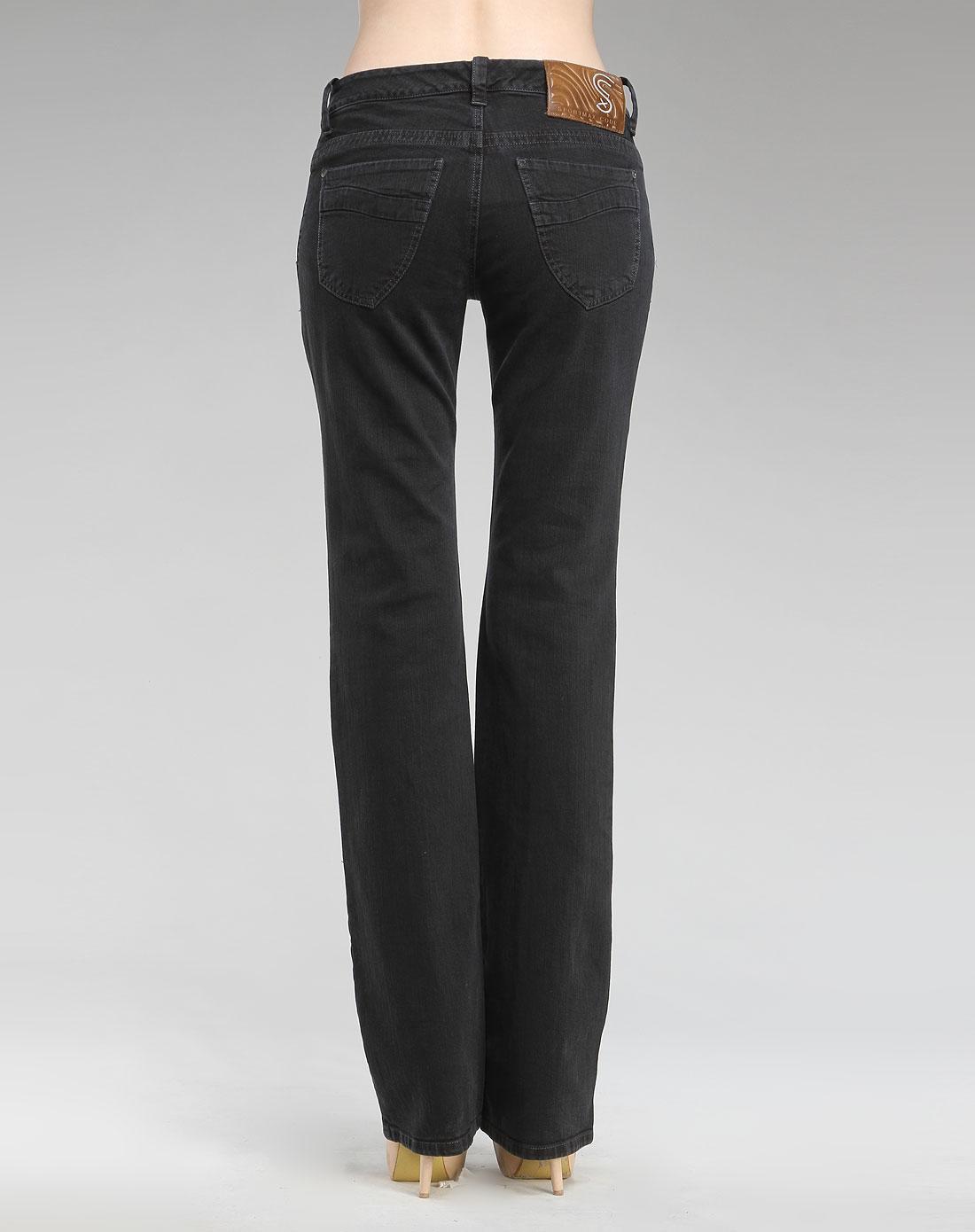 黑色分割线中腰牛仔长裤