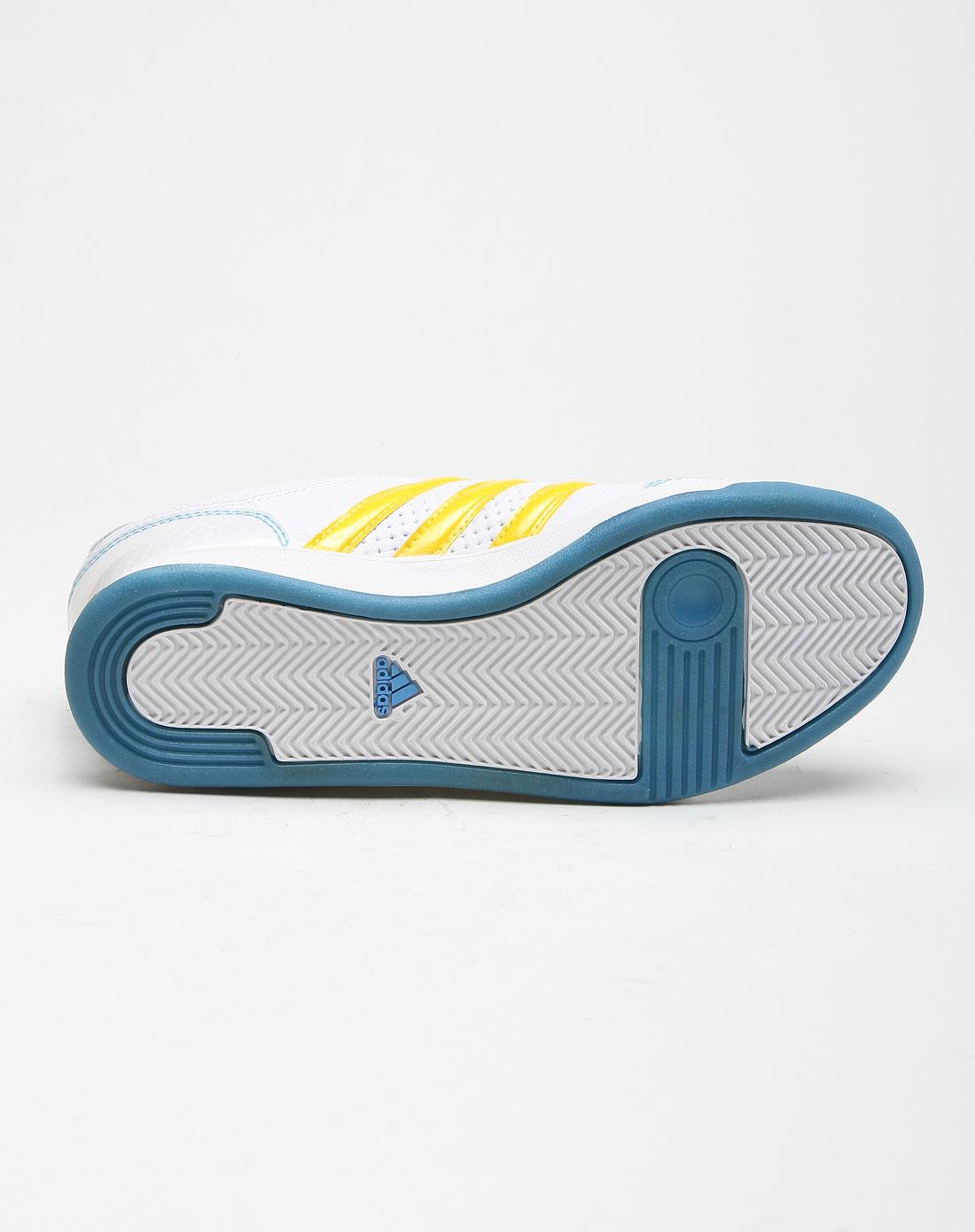 阿迪达斯adidas经典透气白底黄色运动鞋u43814