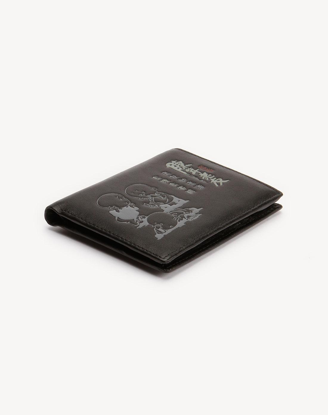 黑色烫印卡通图案时尚钱包