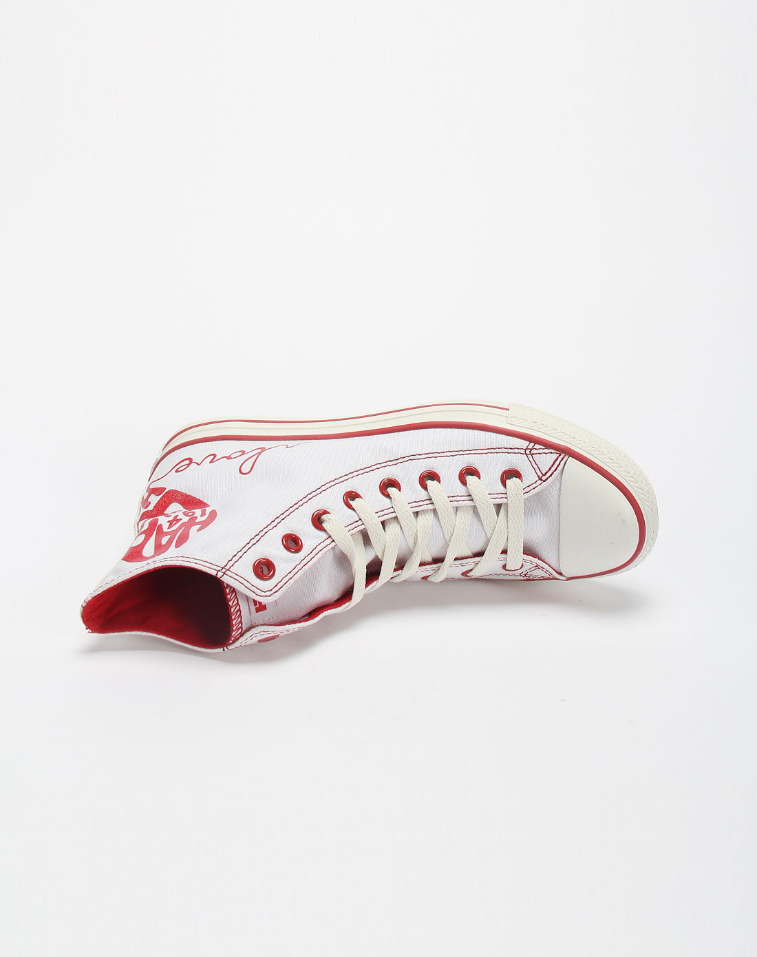 男款白/红色简约系带高帮帆布鞋