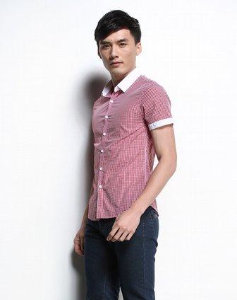 时尚细方格子红间白色短袖衬衫