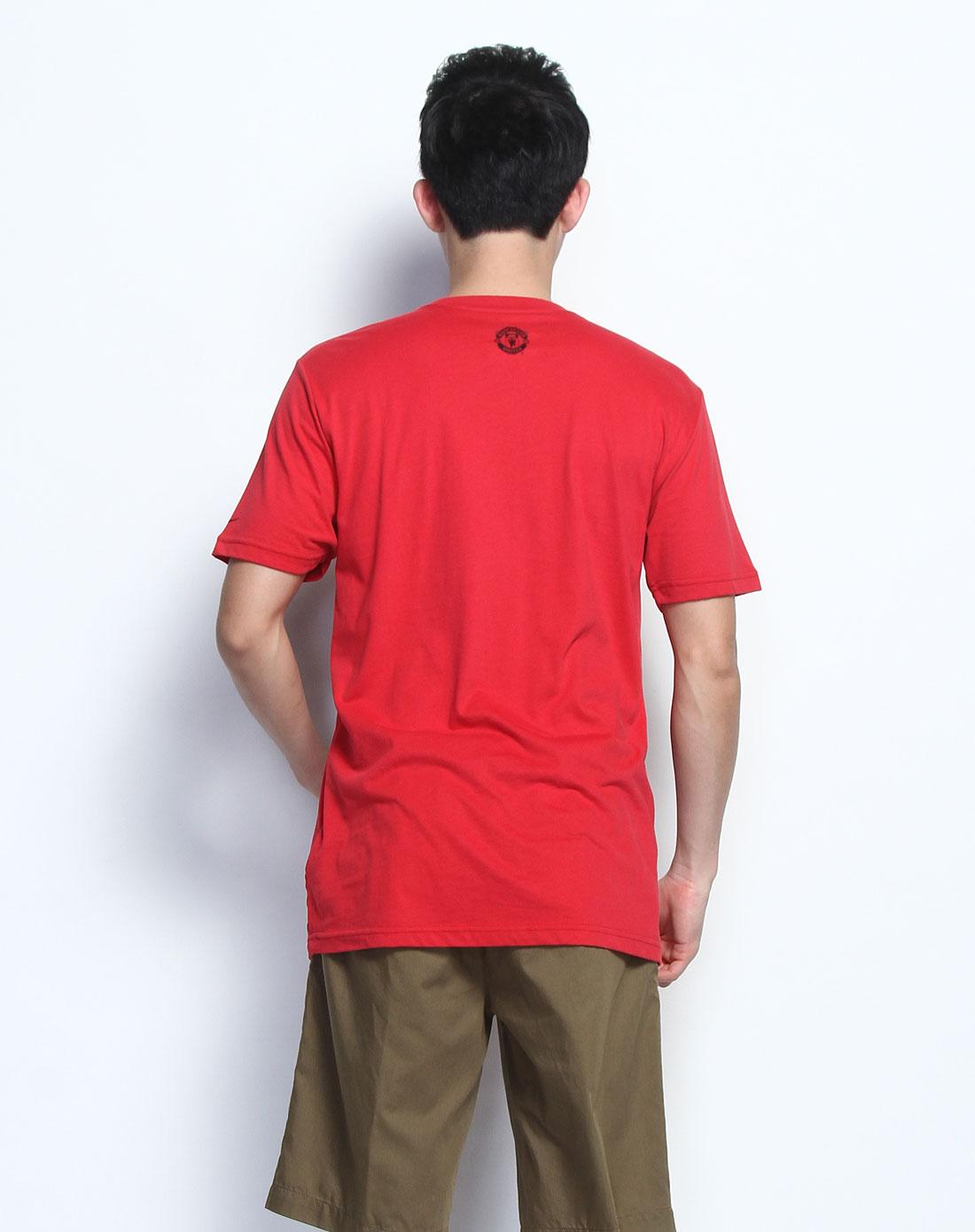 抽象油画印图圆领红色短袖t恤