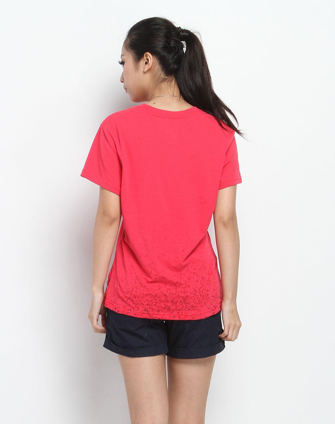 耐克nike圆领logo印字玫红色短袖t恤434806-615