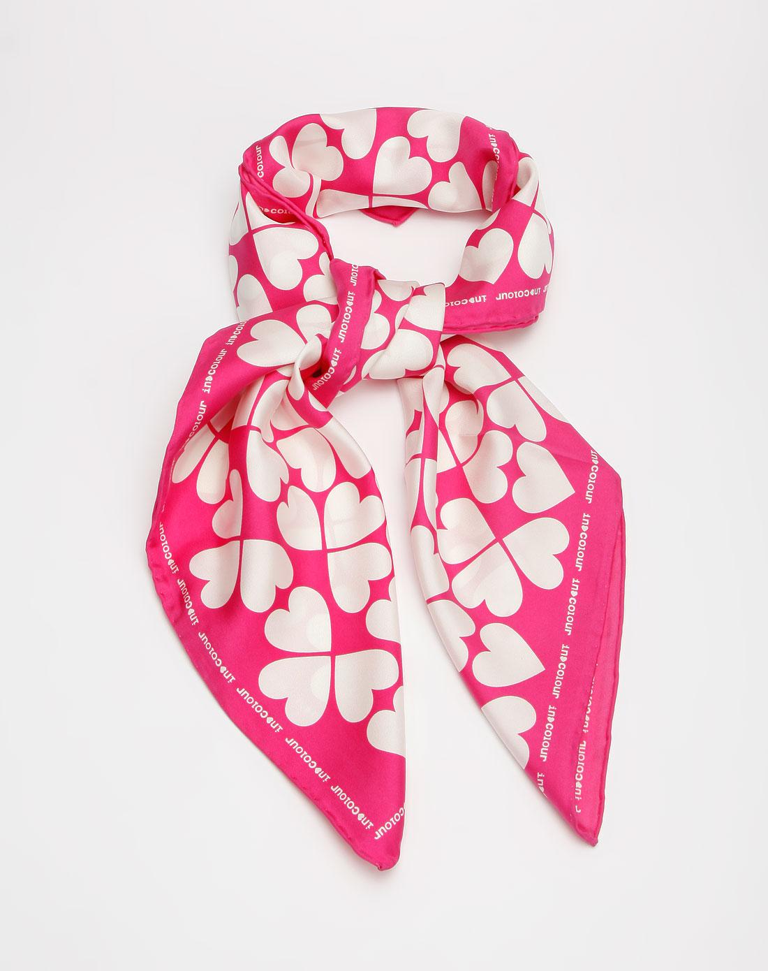茵佳妮in-colour玫红色心形图案围巾图片
