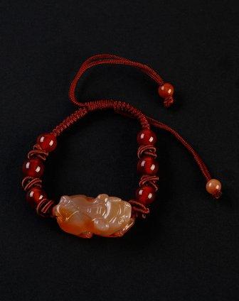 珠宝橙色红玛瑙貔貅手链 小