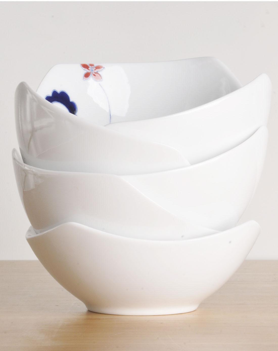 哲品斗彩卷草纹手绘陶瓷饭碗6个装-独秀