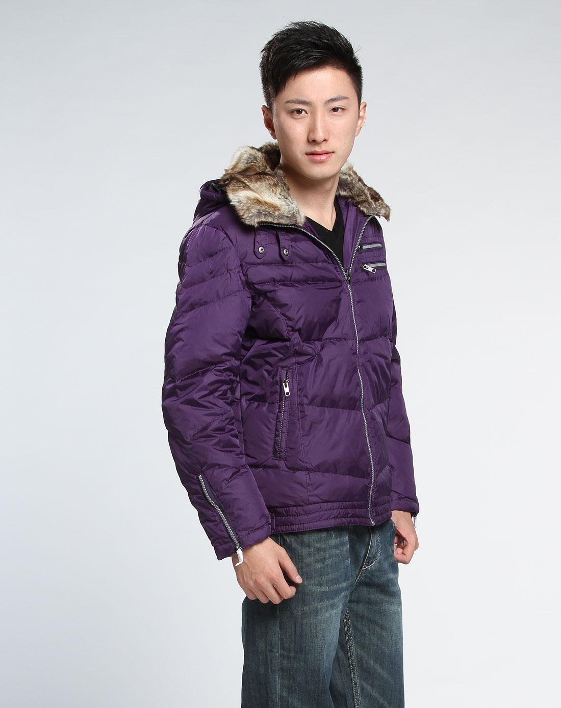 森马-男装男款紫色羽绒服图片