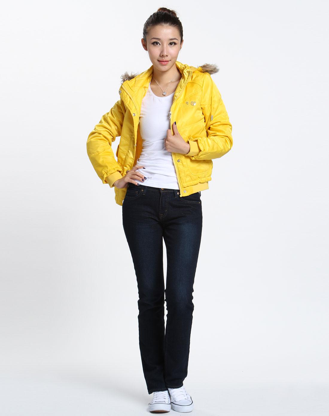 森马 女款黄色时尚长袖外套图片
