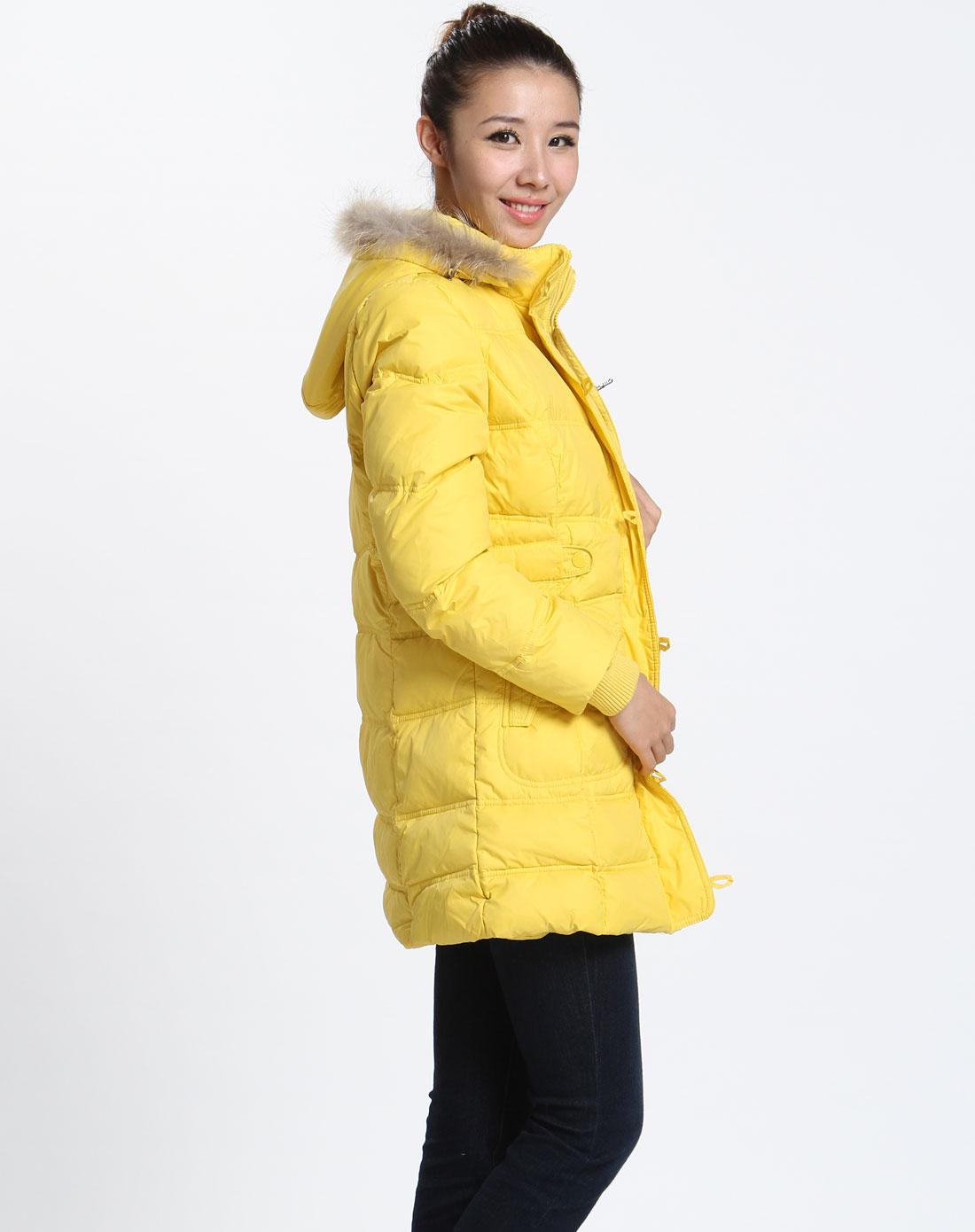 男女装混合库存专场-森马 女款黄色连帽长袖长款羽绒服图片