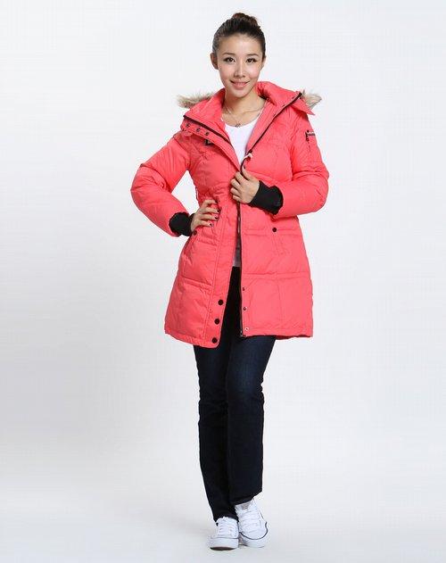 森马-女装女款粉红色长款长袖羽绒服图片图片