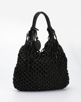 纳帕佳lapargay黑色编织双层优雅手提包dl332324-3