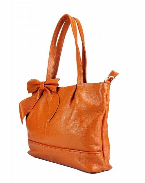 法赛纳francinel女包专场女款橙色荔枝纹皮手袋
