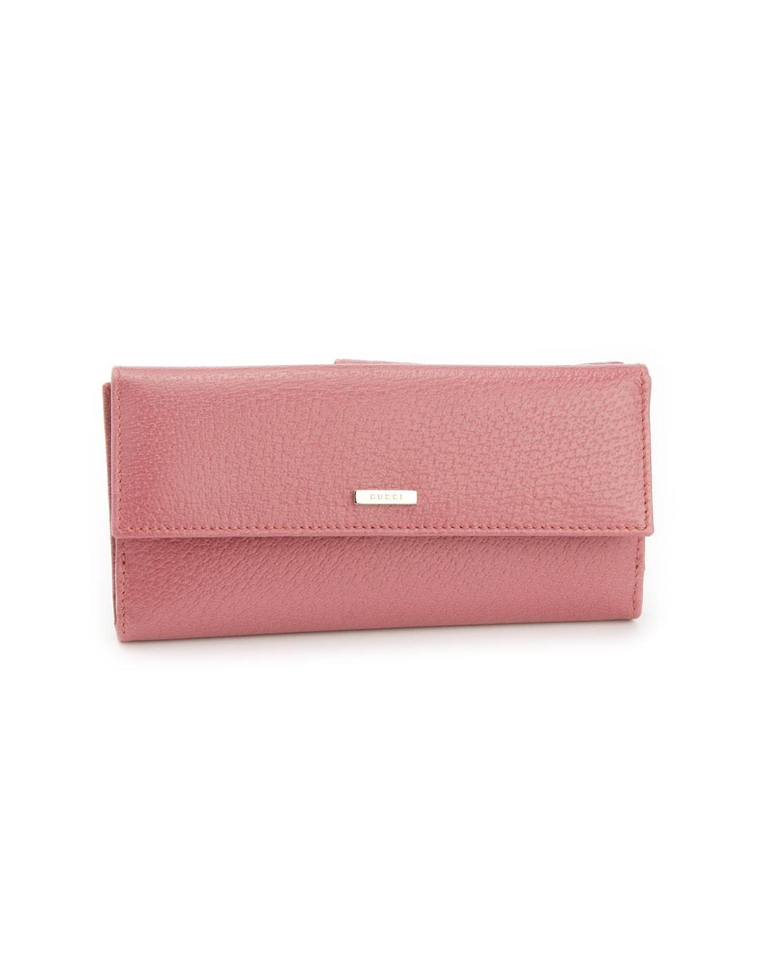 奢华钱包专场gucci女款浅紫红色压纹钱包g1025029