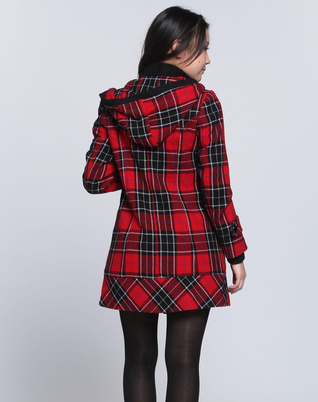 女款大红色格子连帽长袖大衣