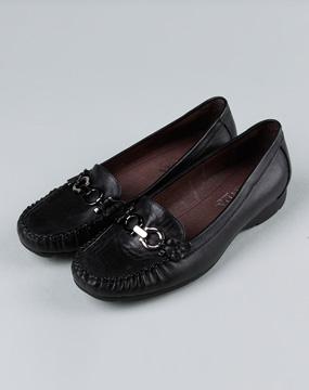 森达senda-女鞋女款黑色厚跟软牛皮单鞋