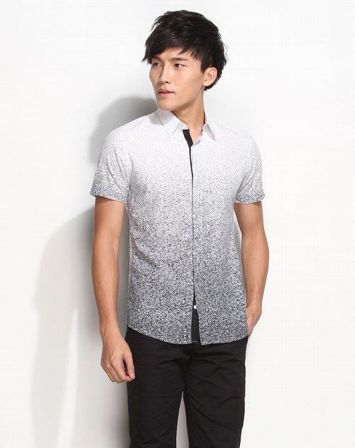 摩高 男装渐变点纹印花白底深灰色短袖衬衫