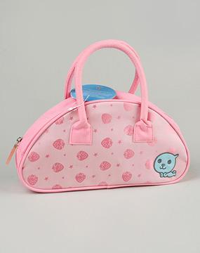 酷儿qoo粉红色半圆形手提包