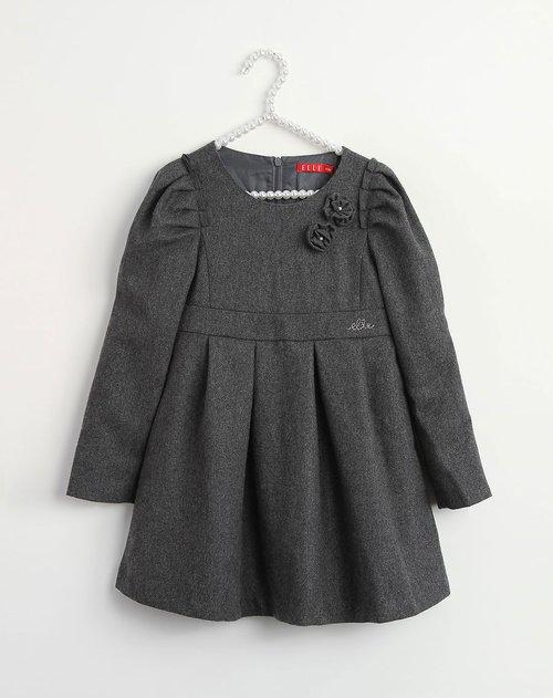 艾乐 女童深灰色公主可爱长袖连衣裙