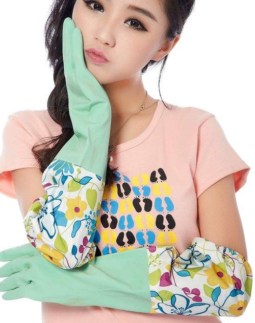 韩式小花加长乳胶手套蓝绿色2入