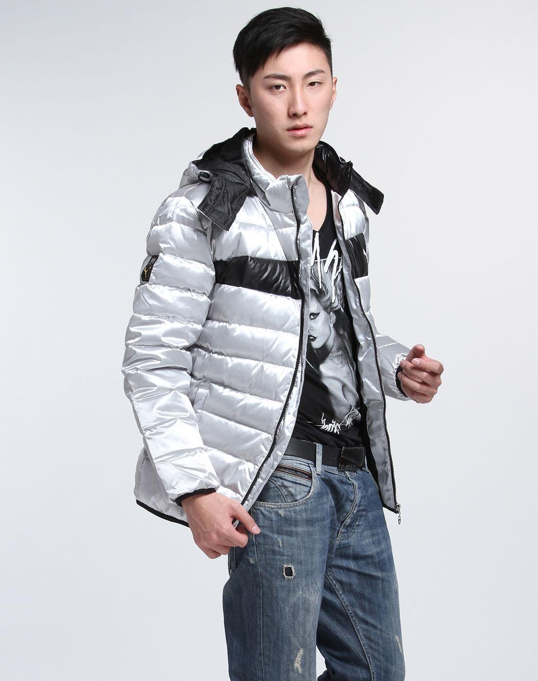 男款气缸长袖时尚标准羽绒服铝全金金属银色图片